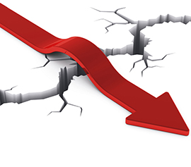 Success and achievement abstract business concept: red arrow over deep crack isolated on white background